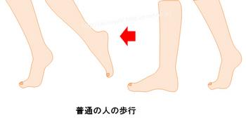 足先で足を蹴り上げるような歩き方