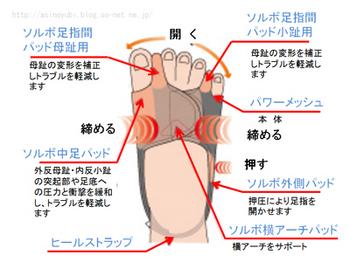 ソルボ外反母趾・内反小趾サポーターパワーメッシュ 固定型の構造